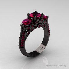 14K Black Gold Three Stone Black Diamond by DesignMasters on Etsy, $2399.00