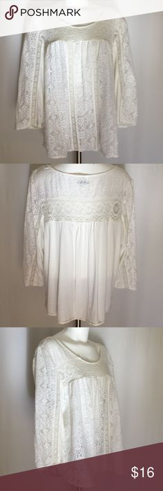 American Eagle Top 🅿️ 🆕 American Eagle Top in creamy lace. Scoop neck. 3/4 sleeve. Creamy lace crochet type front with back t-shirt fabric. Wear tank, cami or bandeau top under. Great shape. Size XXL American Eagle Outfitters Tops
