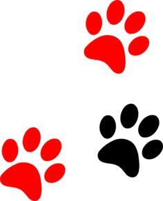 Black/red Paw Print Clip Art at Clker.com - vector clip art online ...