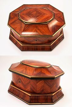 Kingwood Jewelry Box, signed TAHAN, Rare Octagonal Shape [Wow! Patience is the word for anyone taking on the construction of this box]