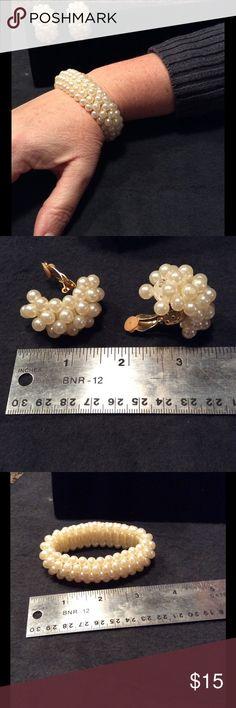 Park Lane Faux Pearl Bead Bracelet & Clip Earrings Park Lane High End Fashion Jewelry   Faux pearls, with some wear (see last picture)   Clip earrings   Expandable bead bracelet (has elastic) Jewelry Bracelets