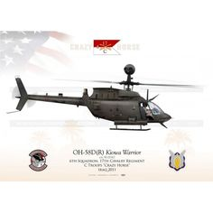 """OH-58D """"Kiowa Warrior"""" USARMY C Troops """"Crazy Horse"""" JP-1192 Reference:  JP-1192 Condition:  New product  UNITED STATES ARMY  6th Squadron, 17th Cavalry Regiment, C Troops """"Crazy Horse""""  """"OPERATION NEW DAWN"""" Iraq 2011"""
