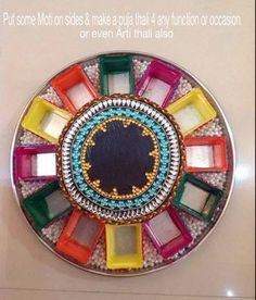 1000 images about rangoli n aarti decoration on pinterest for Aarti thali decoration with pulses
