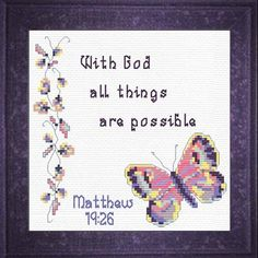 All Things Possible - Matthew Quick Stitch Promises - Small Inspirational Cross Stitch Designs Counted Cross Stitch Patterns, Cross Stitch Charts, Cross Stitch Designs, Easy Cross, Mini Cross Stitch, Religious Cross, Easy Gifts, Bible Verses, Punto De Cruz