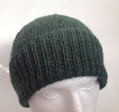Men's Forest Green 25% Wool Worsted Beanie Hat   Hand by sewmoira
