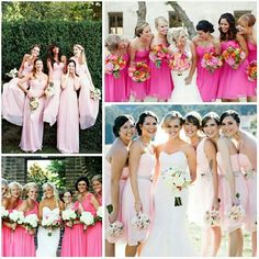Pink bridesmaids dresses. For more wedding inspiration visit www.knotsvilla.com