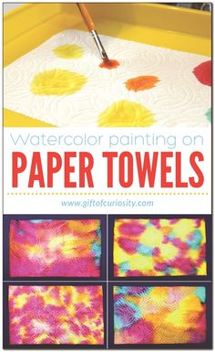 Watercolor painting on paper towels is part of Preschool art activities - Use liquid watercolor paints to make beautiful artwork on paper towels Liquid Watercolor, Watercolor Paintings, Painting Art, Painting Flowers, Painting Tools, Sponge Painting, Painting Process, Gouache Painting, Painting Techniques