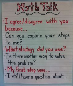 This anchor chart provides questions and sentence stems students can use in classroom conversations. Compliments of Eureka Math writer Colleen Sheeron.