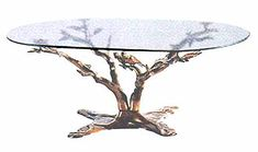 Superbe Bronze Tree Branch With 2 Birds Coffee Table