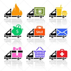 Delivery Cargo Trucks, Colored Icons Set  #GraphicRiver         Delivery cargo trucks, colored icons set   • These are editable vector files.  • Available RGB color   Attached ZIP folder contains:  • EPS vector file is saved in file format EPS v. 8  • AI (Illustrator CS4)  • PSD (layered, 300dpi)  • JPG image has high resolution 5000×5000 pixels  • CDR v.10  • Can be used in your web design and or for your site  Please don't forget to rate if you like it! Thank you        Created…