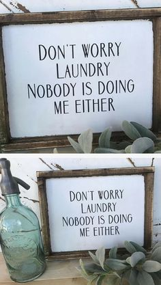 Ha! Laundry Sign, Home Decor, Laundry Room Sign, Funny Laundry Sign, Funny Signs, Funny Home Decor, Rustic Signs, Farmhouse Signs, Farmhouse Decor, Rustic Decor, Rustic Farmhouse, Single Mom Sign, Single Dad Sign #ad