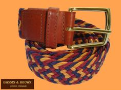 Bassin  Brown - Woven/Leather - Triple Colour - Gold/Red/Navy - Made In England http://www.kjbeckett.com/mens/accessories/belts/buy/bassin_and_brown.html