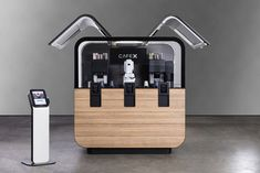 Cafe X - Premium coffee from robot baristas Food Cart Design, Food Truck Design, Coffee Carts, Coffee Barista, Coffee Shops, Coffee Maker, Container Design, Container Shop, Kiosk Design