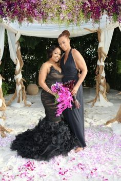The Happy Couple R&B Divas star Monfiah and her wife Terez show off their newlywed glow on their wedding day.
