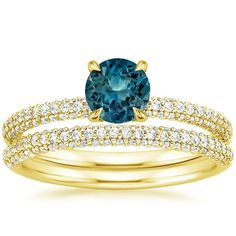 Sapphire Valencia Wedding Ring Set - 18K Yellow Gold