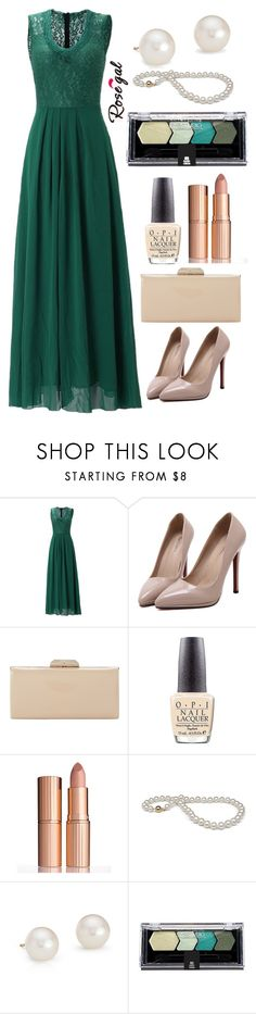 """""""Rosegal: Green long dress"""" by kacenka-1 ❤ liked on Polyvore featuring WithChic, Dune, OPI, Charlotte Tilbury, Blue Nile and Maybelline"""