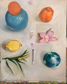#schilderen met #olieverf les 15. we zullen doorgaan gewoon omdat het genieten is. #flowers #fruits #balls