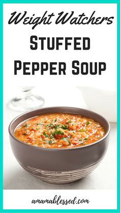 Weight Watchers Slow Cooker Stuffed Pepper Soup Are you looking for Weight Watchers recipes with Smartpoints or points values? Looking for a delicious Weight Watchers dinner recipe? This Weight Watchers slow cooker stuffed pepper soup recipe is delicious, Weight Watcher Dinners, Weight Watchers Lunches, Weight Watchers Soup, Weight Watchers Meal Plans, Weight Loss Soup, Weight Watchers Chicken, Ww Recipes, Soup Recipes, Dinner Recipes