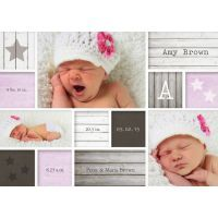 Personalised Baby Girl Birth Announcement Cards $1.19 www.mamadoo.com.au #mamadoo #personalisedcards #birthannouncements