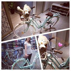 Vintage mint bike by Ipek Erdur / Btwin bikes- Elops 520. Molly Bear just loved driving a bike 😊