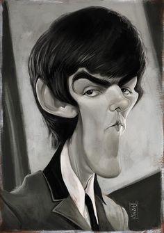 Caricatura del guitarrista de los Beatles, George Harrison, realizada por el artista Pablo Pino.   ...