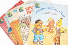 4 Sesame Street Books - Anybody Can Play - Special Delivery - What Did You Bring - The Little Red Hen - 80's Vintage
