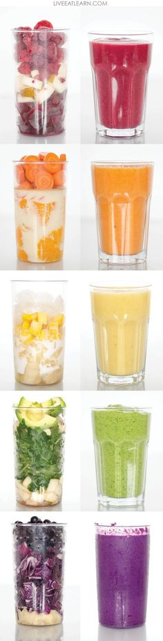 These smoothie ideas are beautiful with easy to see ingredients. Healthy smoothie recipes to give you the boost of energy you need on Monday morning, Perfect as a quick, on the go meal, for breakfast, and for the whole family. Always compatible with a vegan, vegetarian, paleo, gluten-free, and whole foods diet. // Live Eat Learn