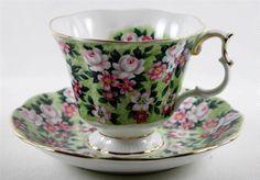 Royal Albert  Tea Cup and Saucer Garden Party Series Spring Song Gold Trim  #RoyalAlbert