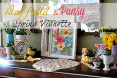 My 1929 Charmer | Daffodil And Pansy Spring Vignette | http://my1929charmer.com. Creating  A Spring Vignette with thrift store finds and grocery store flowers