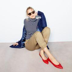 J.Crew Looks We Love: women's Regent topcoat, striped tissue turtleneck T-shirt, broken-in boyfriend chino, Illesteva™ black Leonard sunglasses and Gemma flats.