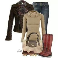 Casual outfit, moto jacket and boots.  I would look hilarious in those glasses but the rest looks great.