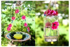 Step-by-step instructions for making two simple butterfly feeders. Includes instructions for making nectar.
