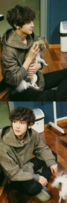 A puppy called Chanyeol with an actual puppy
