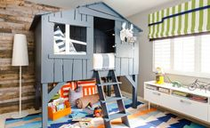 The latest design reveal from J & J Design Group is an eclectic toddler room with a custom lofted bed that would make any little boy as happy as can be.