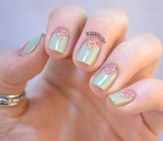 Like a half moon or a reverse French, use tape to mark off where you'll paint your glitter polish. Go for unconventional color combos — Katy used a warm pink and muted green — so it really stands out. Get the tutorial from Nailed It »  - GoodHousekeeping.com