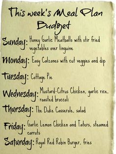 Budget Meal Plan for this week!