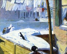 John French Sloan - patios traseros, 1914
