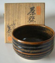 Chawan matcha tea bowl, vintage Japanese ceramic chawan, stamped