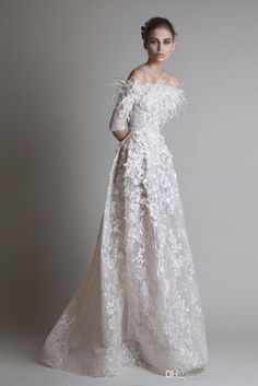 Vestidos 2016 New Krikor Jabotian Wedding Dresses Arabic Illusion Off Shoulder Half Sleeves Lace With Feather Flowers Prom Evening Gowns Silver Wedding Dresses Tea Length Wedding Dress From One Stopos, $176.29| Dhgate.Com