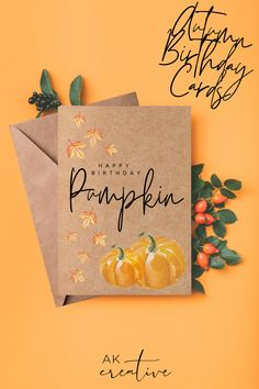Best Seller - Wish your friends and family a Happy Birthday with this Autumnal print Happy Birthday card. Perfect for that Milestone birthday for your Mum, A birthday card for Sister, or someone with an Autumn Birthday. Printed on kraft card with cute pumpkin design. Kraft Card is made from 100% recycled paper and colours may vary. Our greeting cards are delivered with no plastic packaging. All materials are eco friendly, sustainable & recyclable Birthday Cards To Print, Birthday Cards For Mum, Birthday Gifts For Best Friend, Best Friend Gifts, Happy Birthday Pumpkin, Fall Birthday, Autumn Prints, Plastic Packaging, Cute Pumpkin