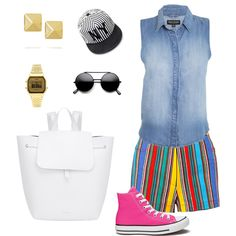 stripes and pops of color by melevu on Polyvore featuring polyvore fashion style Black Orchid Converse Mansur Gavriel Anita Ko Topshop