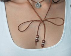 Brown Suede Choker Necklace, Byzantine Coin Charm Necklace, Suede Choker, Wrap Necklace, Tie Up Bolo Necklace, Boho Necklace, Greek jewelry