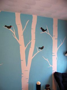 Painting Birch Trees on a wall