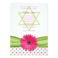 Shop Pink Green Polka Dot Daisy Baby Shower Invitation created by wasootch. First Communion Invitations, Christening Invitations, Baby Shower Invitations, Custom Invitations, Invites, Wedding Invitations, Flower Invitation, Invitation Cards, Bat Mitzvah Invitations