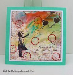 Brusho background, card made by Alie Hoogenboezem-de Vries