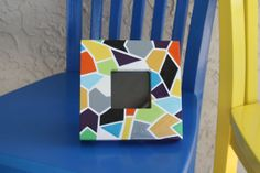 Painted Textured Mosaic Frame by ColorsbySherri on Etsy, $30.00