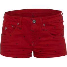 G-Star RAW Denim shorts met hondenprint ❤ liked on Polyvore featuring shorts, bottoms, short, short shorts, stretchy shorts, stretch shorts, g star raw shorts and jean shorts