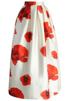 All the other flowers will just have to excuse you for being the top blooming beauty this season in our glamorous poppy full maxi skirt! The poppy blossoms scattered across the beige skirt in a pleated silhouette make just too fabulous for words! You'll be the prettiest floral arrangement in this skirt!  - Back zip closure - Pleated silhouette - Lined - 100% Polyester - Machine washable  Size(cm) Length Waist XS       100  ...