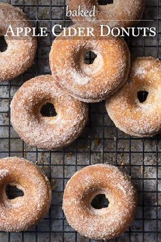 Baked Apple Cider Donuts with Cinnamon Sugar Skip the mess of deep frying and make baked cider donuts instead! These easy fall treats coated in cinnamon sugar are perfect dunked into apple cider for a morning snack or for dessert. Baked Apple Dessert, Apple Dessert Recipes, Apple Recipes, Baking Recipes, Baked Donut Recipes, Baked Doughnuts, Baked Cider Donuts Recipe, Donuts Donuts, Beignets