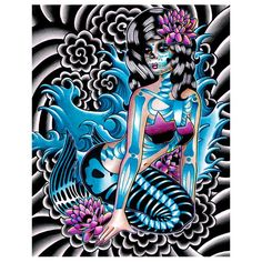 Sirens Song by Carissa Rose #InkedShop #art #mermaid #sugarskull siren, song, crossstitch, art, roses, cross stitch patterns, carissa rose, mermaid, cross stitches